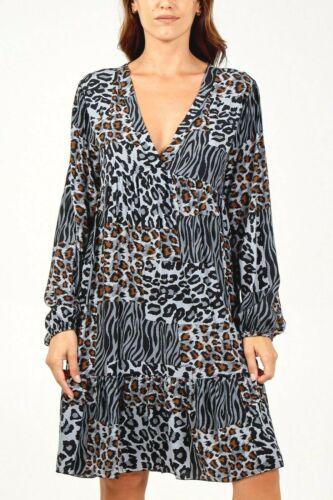 ITALIAN lagenlook ANIMAL tiger LEOPARD print TIERED smock DRESS top TUNIC 12 14