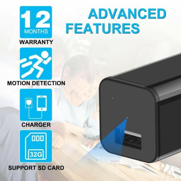MINI CÁMARA ESPÍA OCULTA 1080P, Cargador Full HD Detección de movimiento Grabación en bucle 32GB Estilo: Cámara Tarjeta SD de 32GB