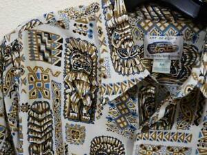 Aloha-VTG-Reyn-Spooner-Art-of-EDDY-Y-Polynesian-Tiki-Rayon-Hawaiian-Shirt-M-Nice