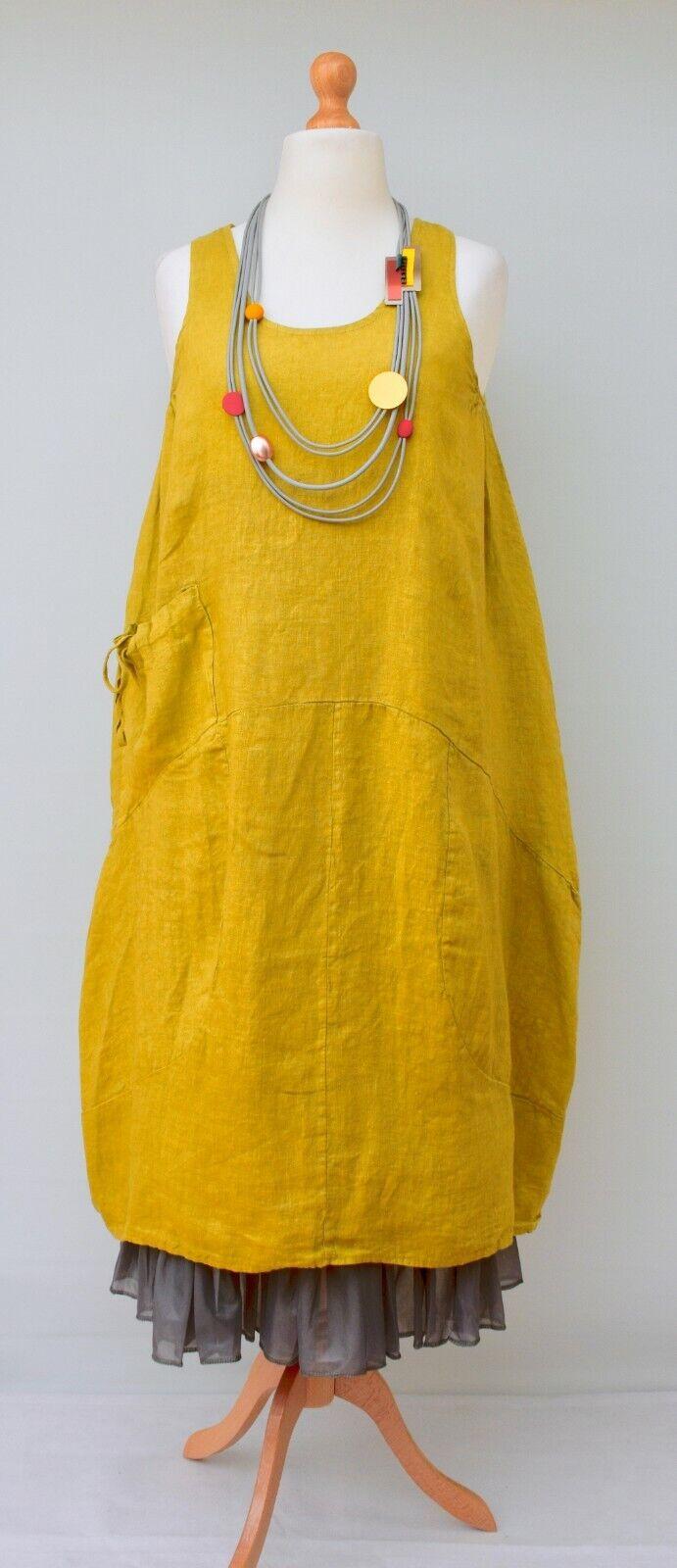Lagenguarda ÜberGröße Italienisches Leinen Luftbtuttion Einfargree Lang Kleid gituttio