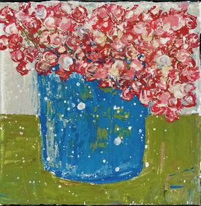 Original Blue Floral Painting Impasto Flower Palette Knife Art Katie Jeanne Wood