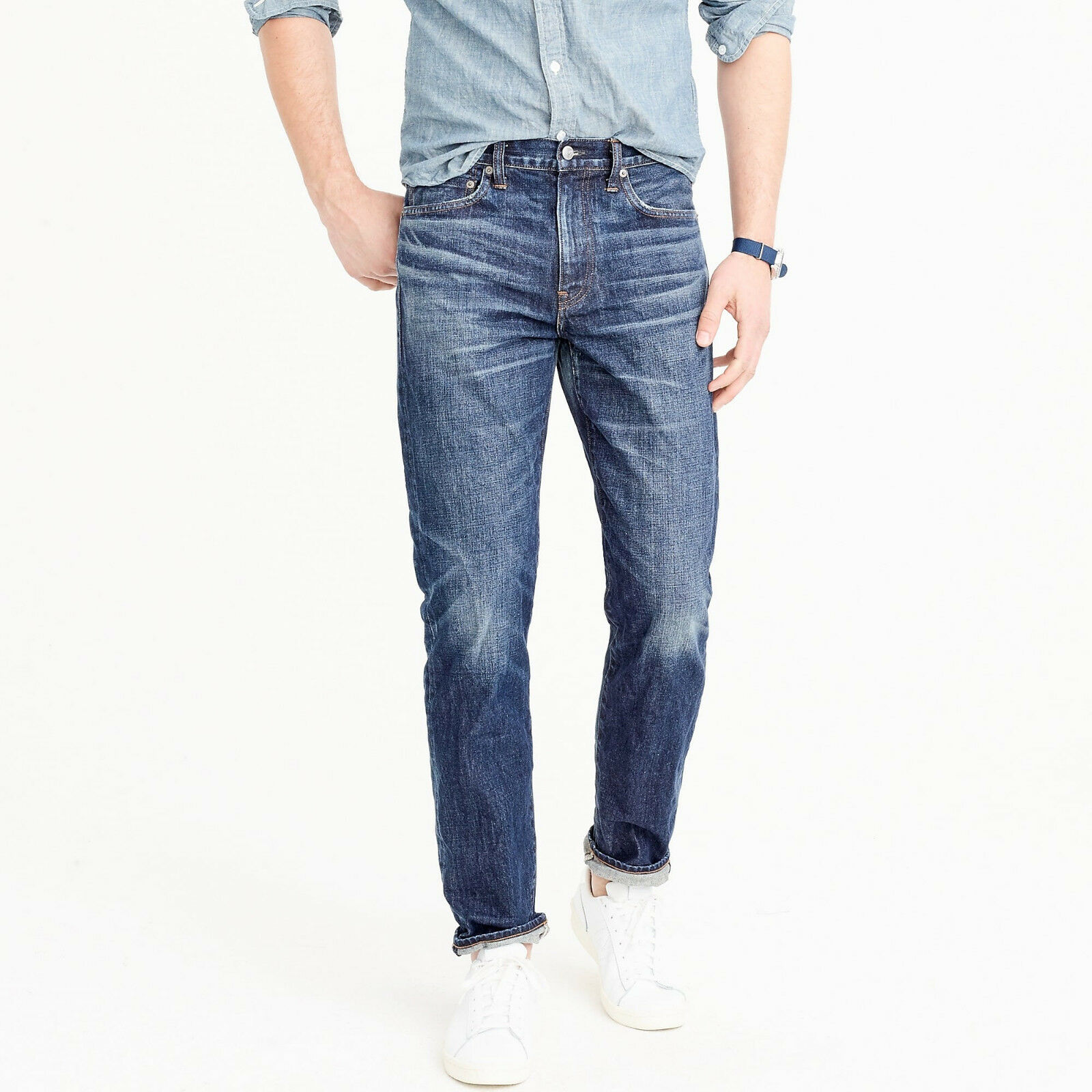 J. Crew 770 Japan Kaihara Denim Men's Slim Fit Jeans Collins Wash  NEW 34x30