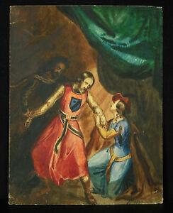 Disegno-Originale-per-Acquerello-Scena-Romantico-Chevalier-Amante-amp-Tesoro-1830