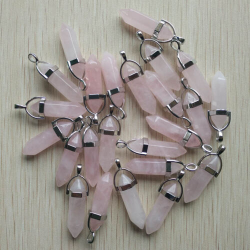 Natural rose Quartz Stone Point Chakra Healing Pendants 24pcs//lot Wholesale