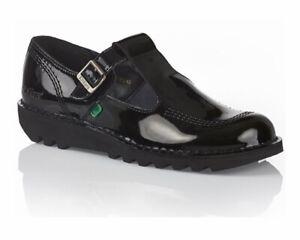 Bottines-Femme-Kickers-Kick-Lo-Azteque-T-Bar-Cuir-verni-Chaussures-Femmes-Noir-Ecole-Travail