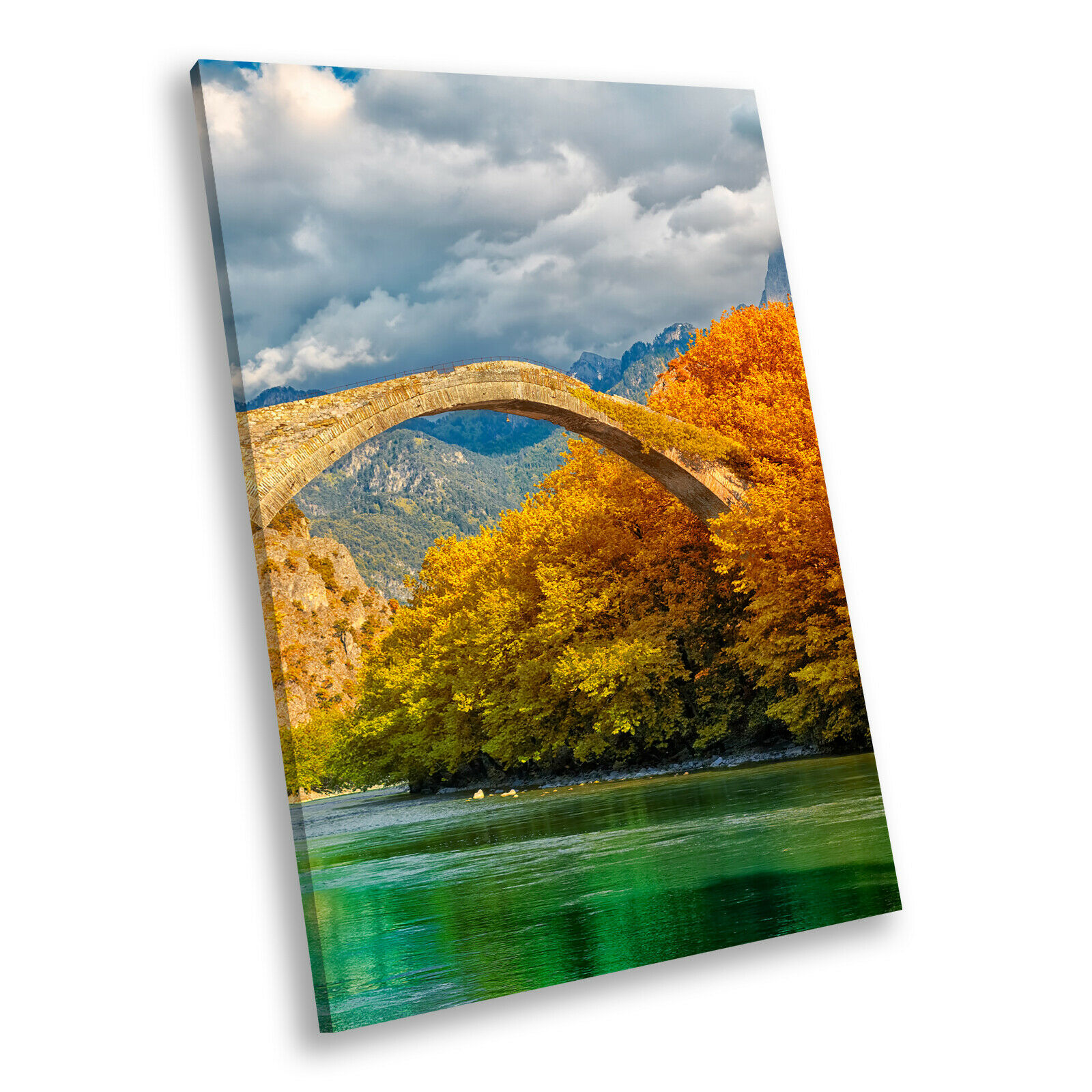 Orange Grün Autumn Bridge Portrait Scenic Canvas Wall Art Large Picture Prints