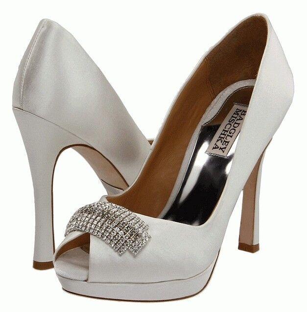 Badgley Mischka JULIA White Heel Open Toe Pump Jeweled rhinestone Wedding NEW