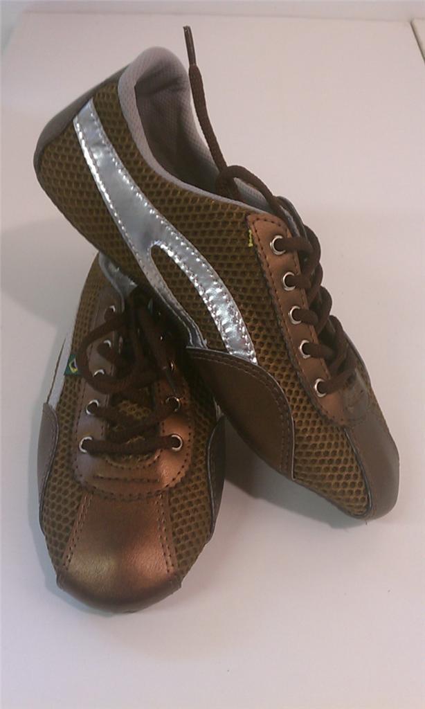 Taygra Brasil Bronce & Plata Entallado Zapatillas Flexible & Claro Zapato Talla