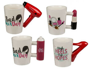 Keramik-Becher-Lady-Bad-Hair-Day-High-Heels-Lippenstift-Beauty-Queen-Tasse