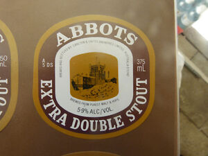VINTAGE-AUS-BEER-LABEL-CARLTON-amp-UNITED-ABBOTS-EXTRA-DOUBLE-STOUT-375ML-5DS