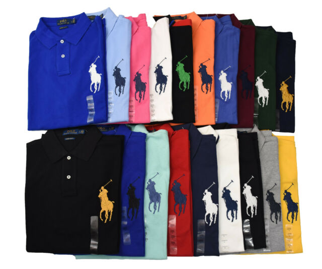 NWT Ralph Lauren  Custom Fit Orange Mesh Polo Shirt Big Royal Blue Pony-XL