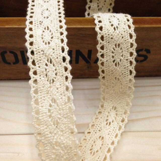 12m Vintage Ivory Lace Bridal Women Wedding Trim Ribbon Craft Cotton Crochet