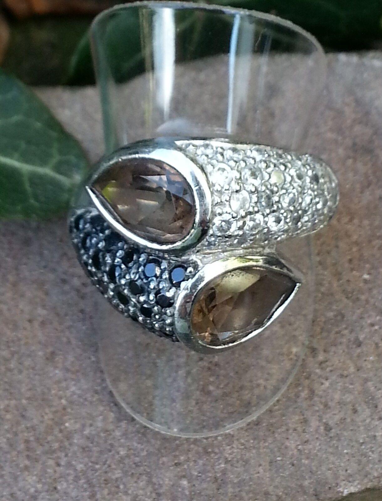 Ring mit Rauchtopas und Zirkonia silver 925 massiv Größe 18,0 mm - 56 (256)