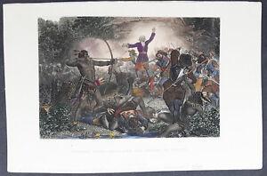 1860-George-Virtue-Antique-Print-of-General-Goffe-Battle-of-Hadley-Massachusetts