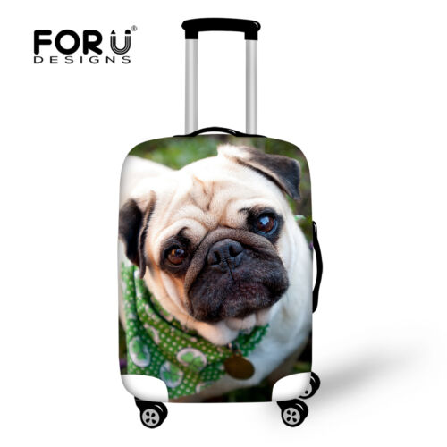 Cute Pug Luggage Covers Dustproof Suitcase Protective 20 22 24 26 28 Inch S M L