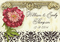 Cross Stitch Mini Kit Gold Collection Floral Elegant Wedding Record 70-65138