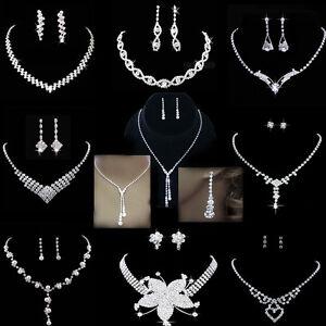 Wedding-Bridal-Bride-Rinestone-Crystal-Silver-Necklaces-Earrings-Jewellery-Set