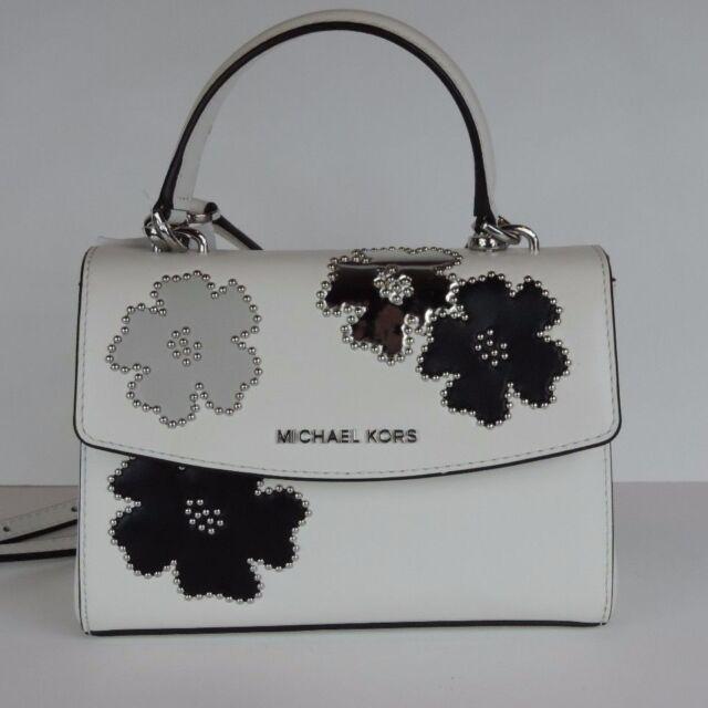 be2c4d55eee8 New Michael Kors Ava XS Mini Crossbody white saffiano leather bag black  floral