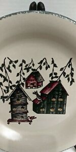 Hand-Made-Dinner-Plate-Home-and-Garden-Party-Stoneware-Dinnerware-Birdhouse