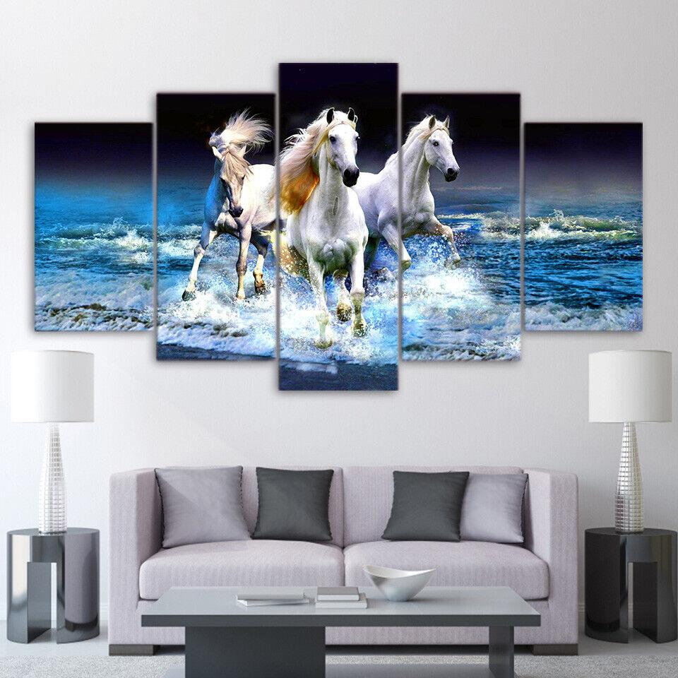 5 Panel Three Weiß Horses on the Beach Modern Décor Wall Art Canvas HD Print