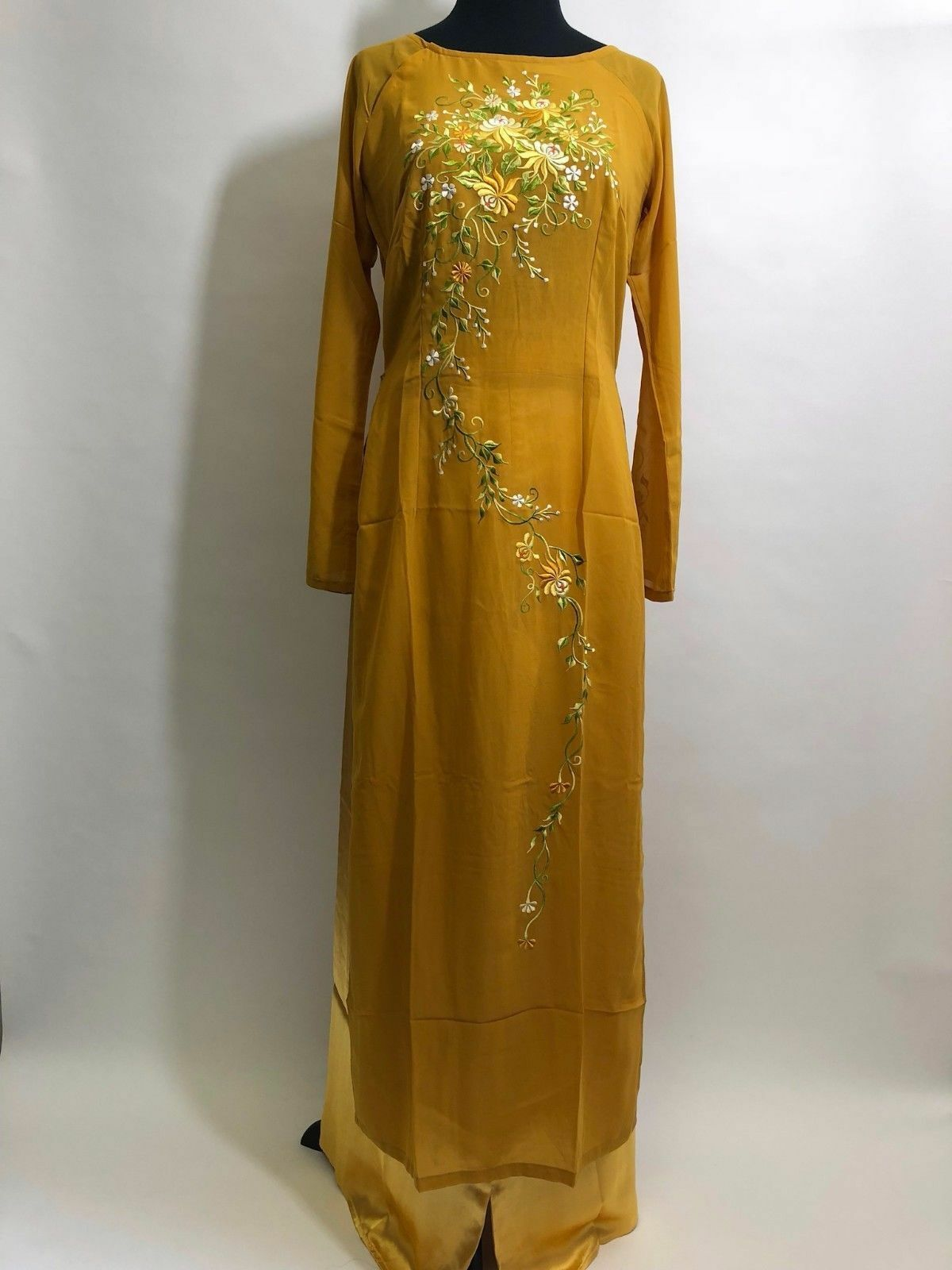 Vietnamese Ao Dai - Women's Long gold Ao Dai w  Pants - Size S, M, XL Available