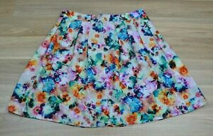 HINGE-Womens-Floral-Watercolour-Bright-A-line-Mini-Flowy-Skirt-Size-2-Aus-10