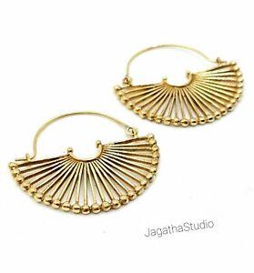 Spiral gold hoops earrings tribal earrings.Ethnic jewelry boho earrings gold creole earrings gypsy jewelry.trendy earrings festival jewelry