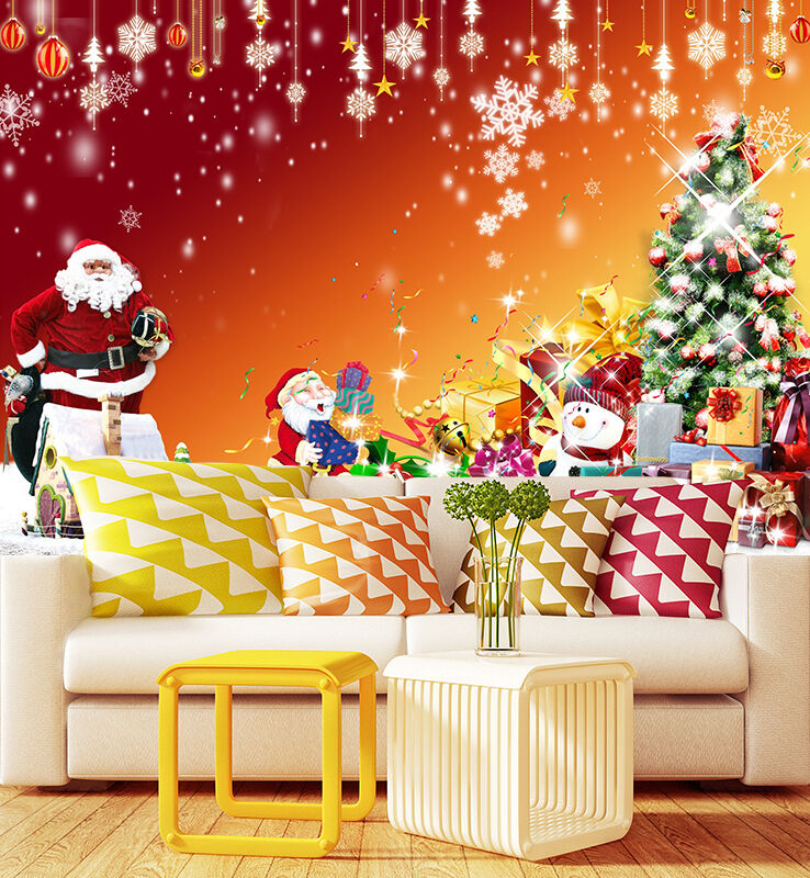 3D Christmas Father Sent Gifts Wall Paper Wall Print Decal Wall Deco Indoor Wall
