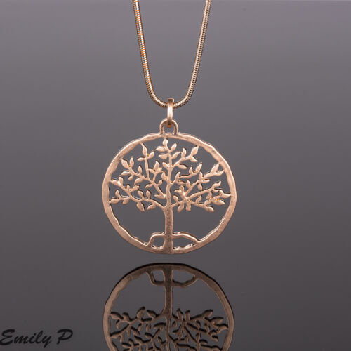 Long Statement Necklace Rose Gold Tone Hand Finished Tree Pendant Lagenlook