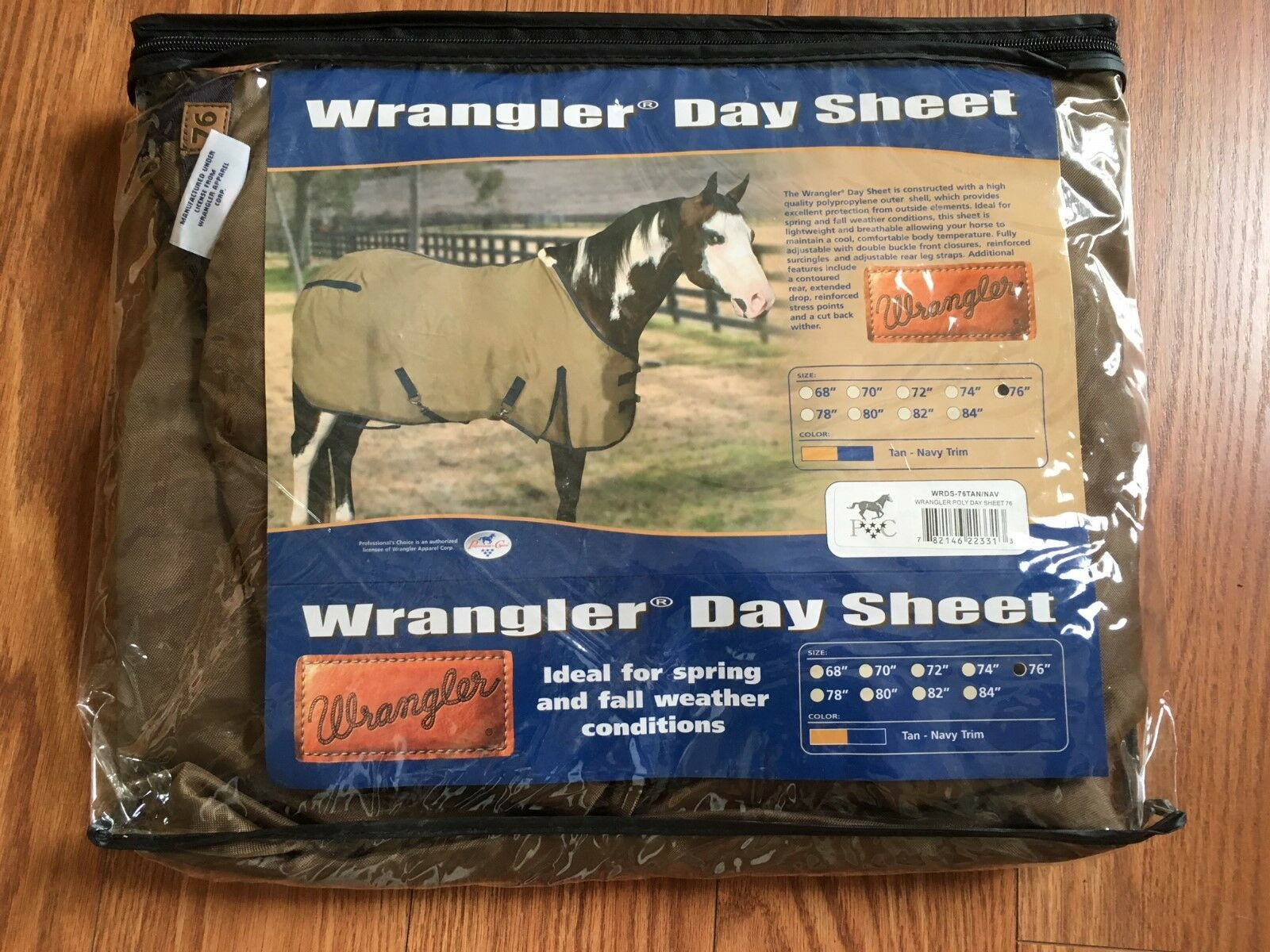 Professional's Choice Wrangler Day Sheet size 76  Tan Navy Horse