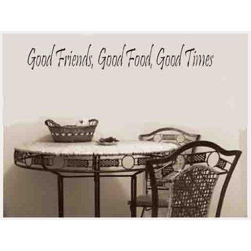 """l/'amitié Citer Autocollant mural UK la bonne nourriture de bons moments/"""".. /""""les bons amis"""
