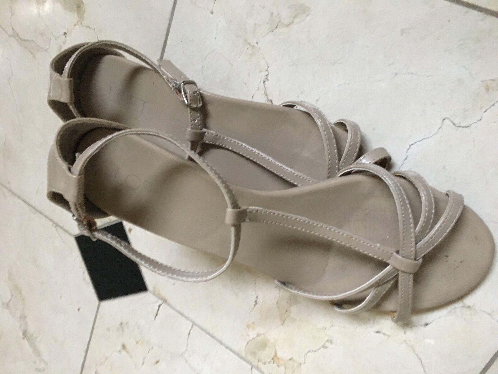 fd8f7348 ANN TAYLOR LOFT Tan brevet 2 Wedge T-Sandales Confort Chaussure ...