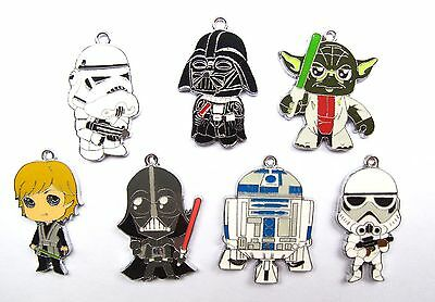 Lot cartoon Star Wars mixed Metal Charms necklace Pendants DIY Jewellery Making