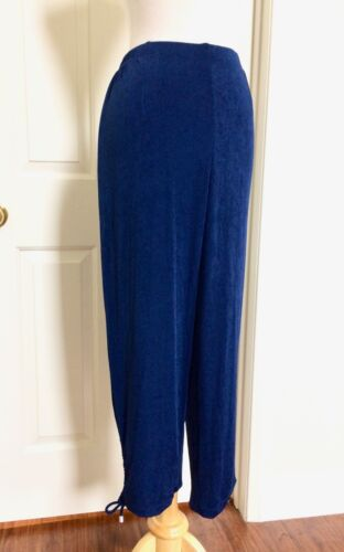 M CHICO/'S $96 NEW TRAVELERS BLUE ELASTIC WAIST RUCHED LEG CROP PANTS SIZE 1