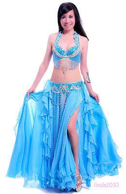 New Belly Dance Costume 2 Pics Bra&Belt 34B/C 36B/C 38B/C 40B/C 11 Colours