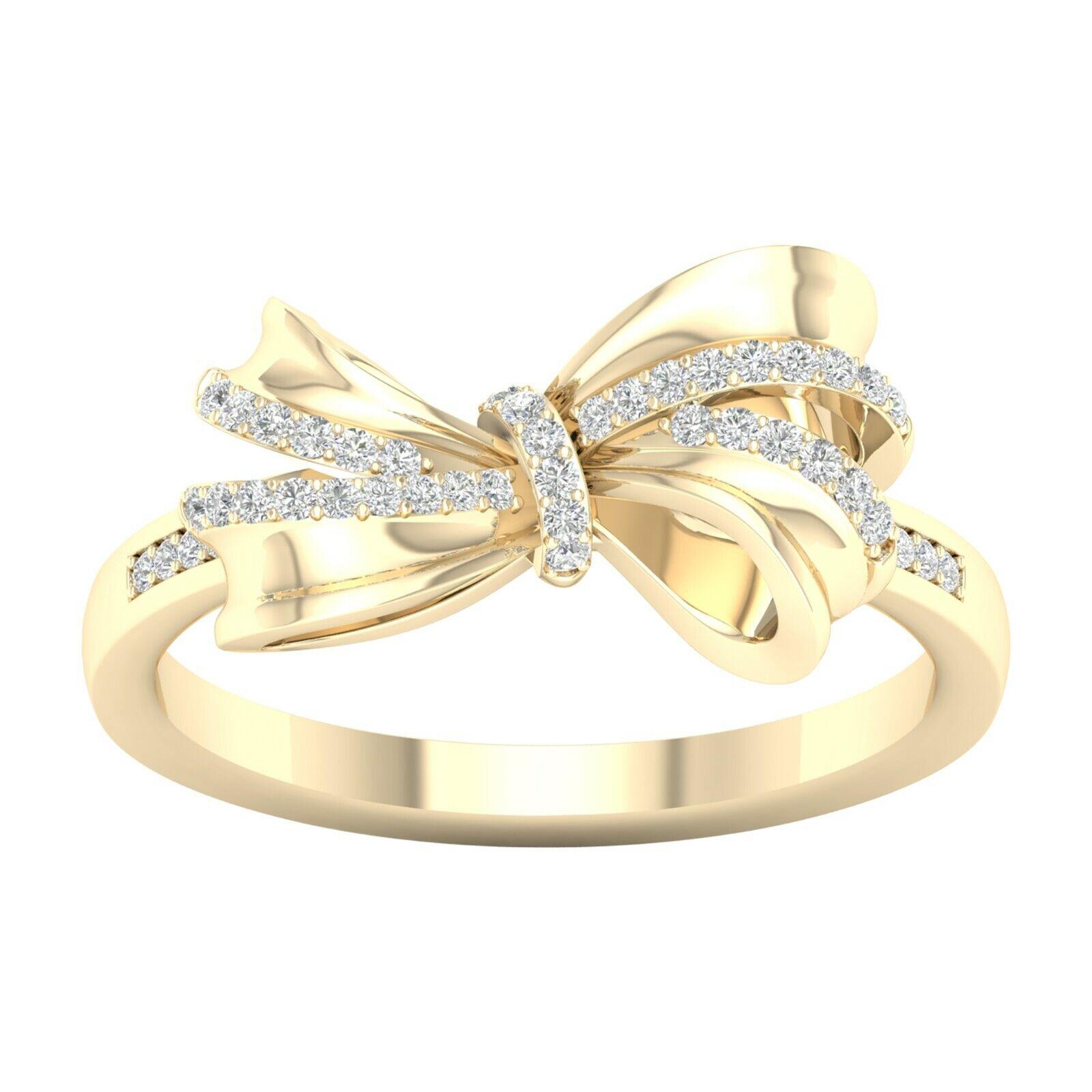 10k Yellow gold 0.12Ct TDW Diamond Knot Ribbon Ring