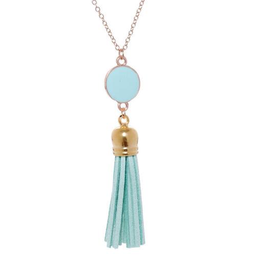 Women Round Disc Pendant Boho Tassel Necklace Long Sweater Chain Jewelry Jian