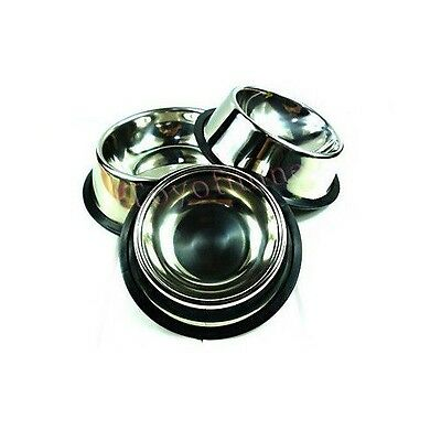 1 x No-Tip NON SLIP DOG or CAT FOOD or WATER BOWL STAINLESS STEEL Pet BOWL