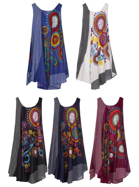 Ladies Umbrella Cut One Size Boho Printed Beach Sleeveless Summer Evening Dress