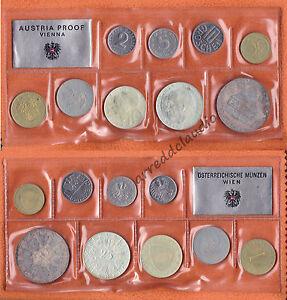 AUSTRIA-OSTERREICH-SERIE-SET-1973-BUMMERLHAUS-9-VAL-PROOF-CON-ARGENTO