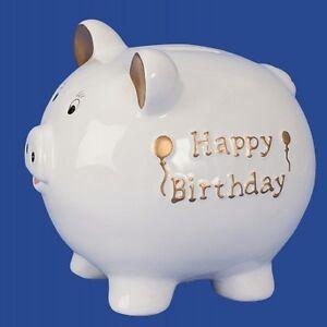 Spardose-Happy-Birthday-Sparschwein-Keramik-Sparbuechse-Sparen-Deko-Geld-NEU