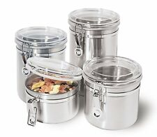 Canister Set 4 Piece Stainless Steel Kitchen Storage Coffee Sugar Tea Flour Lid.