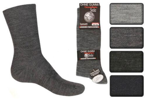 12 Paar Herren Diabetiker Socken uni ohne Gummi ohne Naht 70/% Wolle Top
