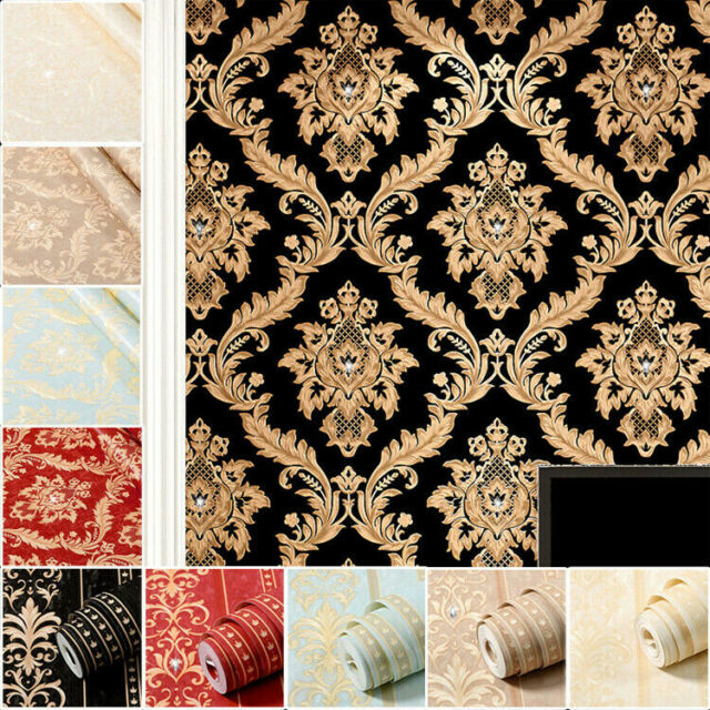 Textured Vinyl Damask Wallpaper Cream Red Gold P S 02485 60