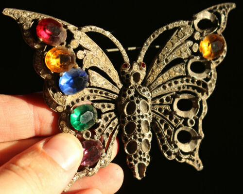 Vintage Signed Staret Butterfly Multi-Colored Rhin