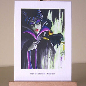 Desperation-of-a-lonely-Maleficent-in-WDCC-drawing-in-oil-painting-style-ACEO