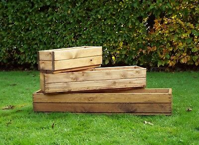Heavy Duty Rectangular Wooden Window Boxes Garden Planter Troughs 3 Sizes Ebay