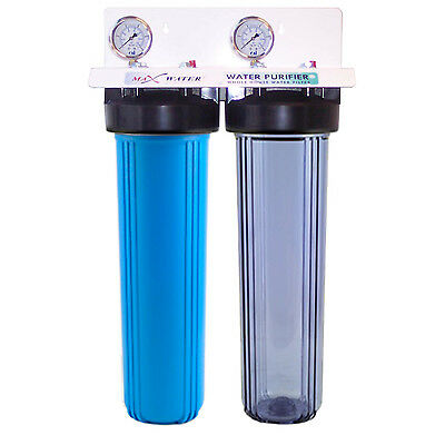 "20""x4.5"" Big Blue Two Stage Clear Whole House Water Filter System,1"" in/out port"