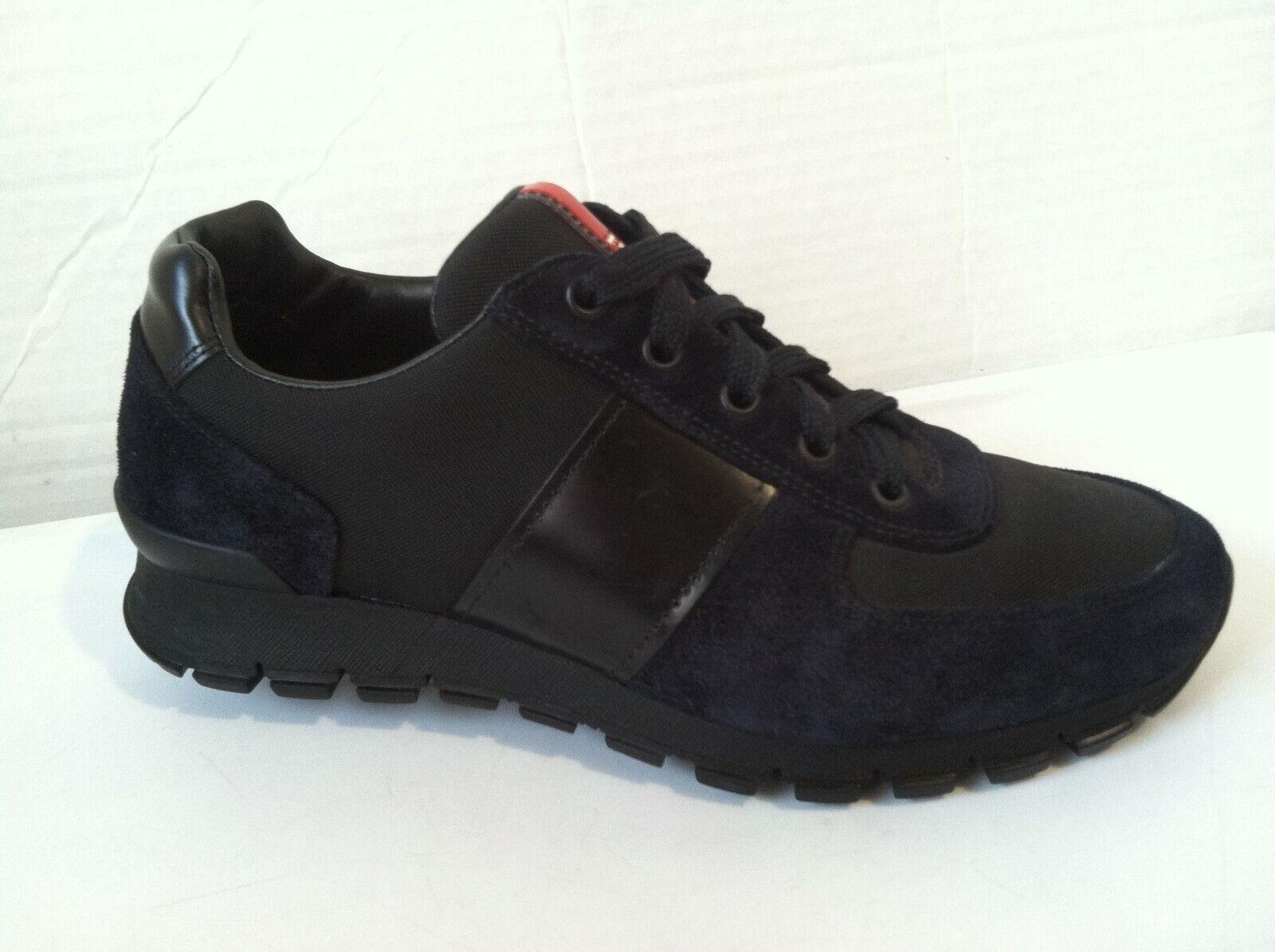 shoes PRADA,  4E2718, ASFALTO black NUOVE, BLACK SNEAKERS  MENS SIZE 6 MINT