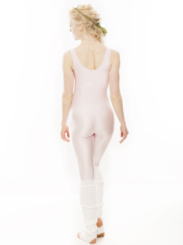 Childrens Girls Shiny Lycra Dance Gymnastics Plain Front Unitard Catsuit KDC011